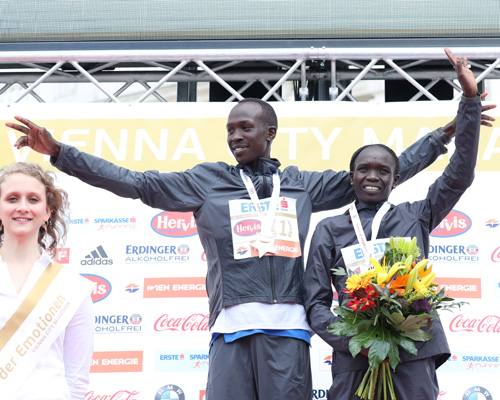 Nancy Kiprop and Albert Korir, winners of Vienna City Marathon 2017. Picture: VCM / Vicath Sailer
