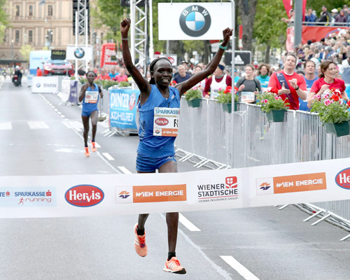 Nancy Kiprop winning the Vienna City Marathon 2017. Picture: VCM / Victah Sailer