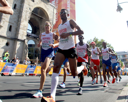 Tadesse Abraham, here at the European Championships in Berlin 2018, tops the elite field of Vienna City Marathon. Picture: VCM / Jean-Pierre Durand
