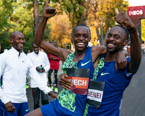 Shadrack Koech and Stanley Kebenei at the test weekend for the INEOS 1:59 Challenge in Vienna. Picture: Bob Martin - London Marathon